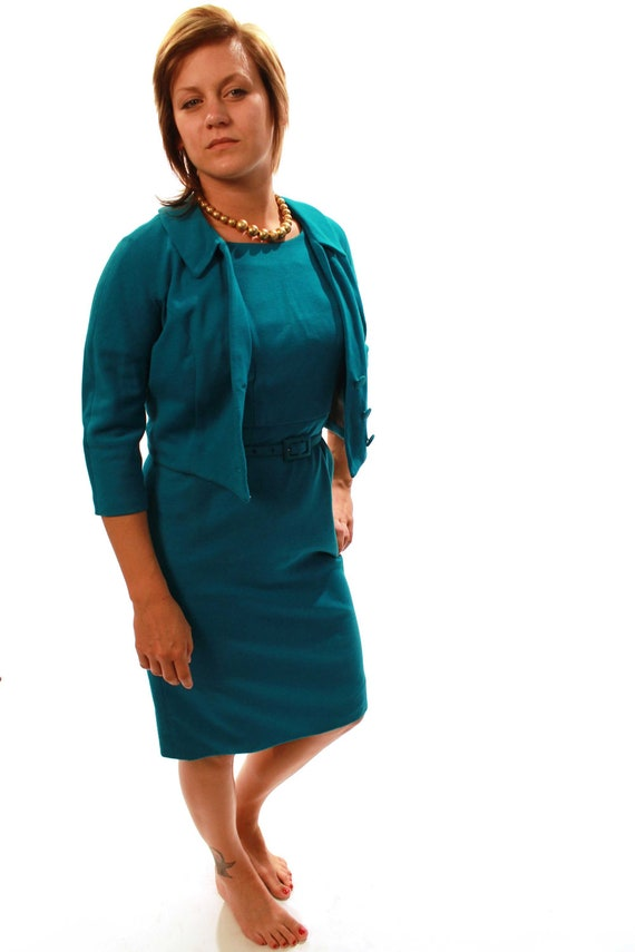 1960s Teal Dress and Jacket