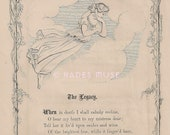 Shed One Tear Of Sorrow-Death Relic-Angel-Flying-Heaven-Mourning-1872 Antique Vintage Art PRINT-Poem-Poetry