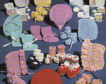 Pdf Pattern - BONNETS and BOOTIES Patterns by JAO. Fun Easy To Make: Sneakers~Tennis Shoes~Sandals +More! Out of Print. Instant Download