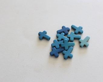 10 Cross Beads -  Blue - Howlite - 16x12mm - Ships IMMEDIATELY from California  -  B784
