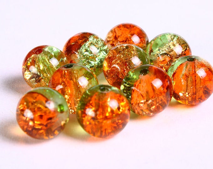 10mm Orange and green crackled beads - 10mm mix color round beads - 10mm Orange and green crackle glass bead (225) - Flat rate shipping