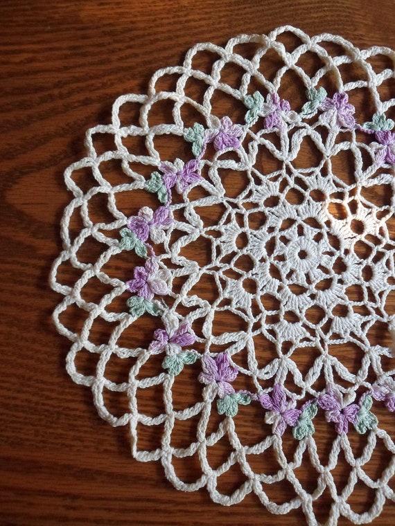 Crocheted Violet Doily, Round Crocheted Purple Violet Lace Doily, Keepsake Needlecraft