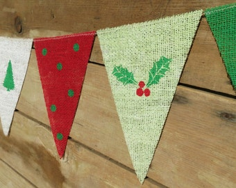 Christmas Banner Bunting Mantel Decor / Christmas Photography Prop Backdrop / Burlap Banner / Hostess Gift