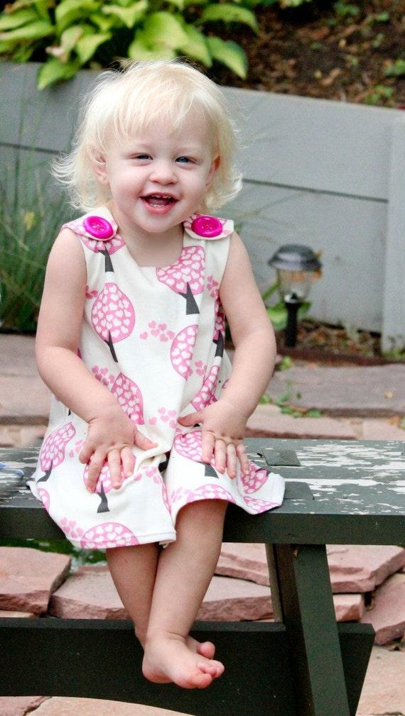 Organic Cotton Knit - Love Tree Baby Dress - 1st Birthday - Organic Baby - Nursey - Infant Girls Dress - Newborn - Natural Fiber - 3M to 3T