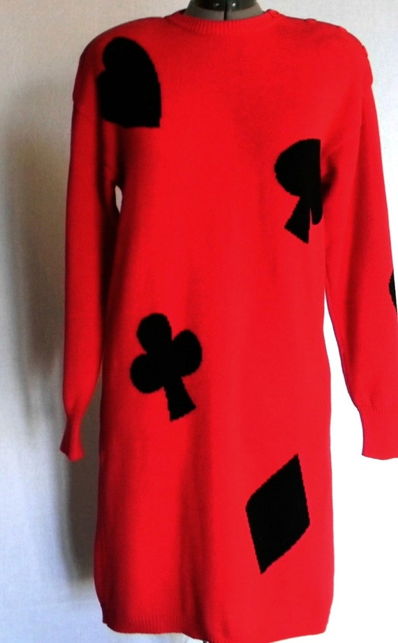 RESERVED for Hazel(Indigo Pony). 80s Sweater Dress. Playing cards dress. Vintage sweater  dress. Size Medium. Queen of Hearts.