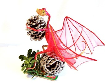 Christmas Dragon Art Doll: Nick, Gold / Red Dragon & Pine cones
