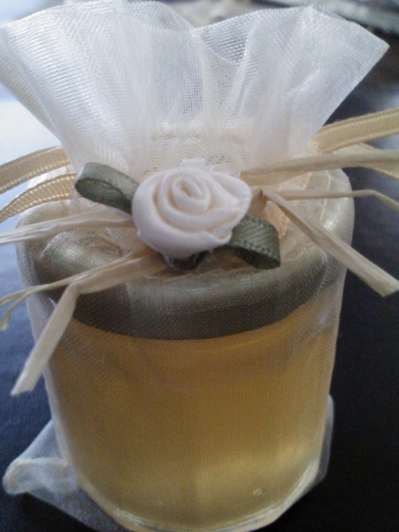 Anniversary Jam Favors/25 jars / Gold or Silver Anniversary/ Satin Rose Decorated Gold -Silver Bag included