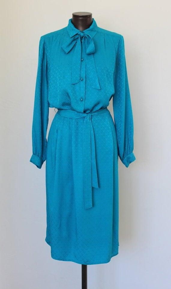 vintage VALENTINO shirtdress teal silk  w/ tie neck secretary bow  6