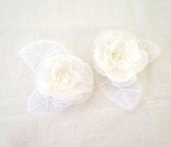 Wedding Bridal Hair Accessories White Ivory Mix Organza Flower Hair Clips White Tulle - SET OF 2  Wedding Hair Accessory - Bridal Hair