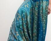 Peacock Feathers Boho Harem Pants/ Hippie Pants/ Gypsy Aladdin Genie Pants/ Yoga Pants/ Bohemian Pants (Dark Teal)