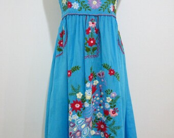 Mexican Embroidered Sundress Cotton Strapless in Blue