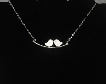 Lovebird necklace , Love Birds Pendant Necklace , twin bird necklace , birdie necklace , tweety necklace matte silver