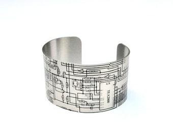 Circuit Diagram Aluminium Geeky Cuff Bracelet