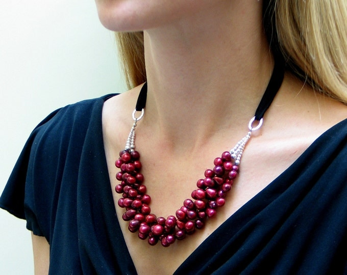 Featured listing image: Red Pearl Necklace, Ruby Red Freshwater Pearl Bib, Fashion Pearl Necklace, Designer Pearls