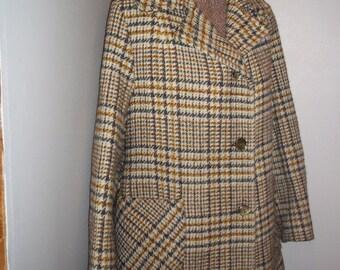 Vintage - 1960s 60s - Plaid Wool Winter Coat - The Rainbow Coat - Medium - Winter Fashion