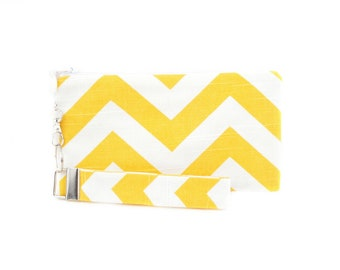 Chevron clutch is a small bag for women - handmade purse for a yellow wedding