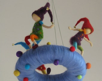 Naughty pixie's needle felted waldorf inspired children mobile