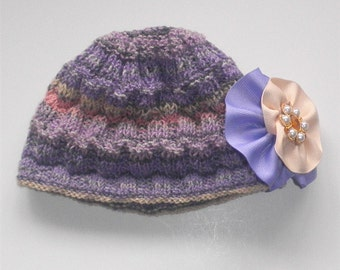 Baby Girl Purple Hat Stripe Beanie Girls Flower Caps Hand Knit Hats Babies Accessories Gifts Hats for Girls