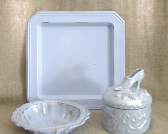 Powder Blue Vanity Collection for A Pretty Princess / Pretty Pastel Blue Vanity Accessories with Vanity Tray, Trinket Dish and Keepsake Box