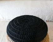 Big Floor Cushion Crochet - Giant knit - BLACK