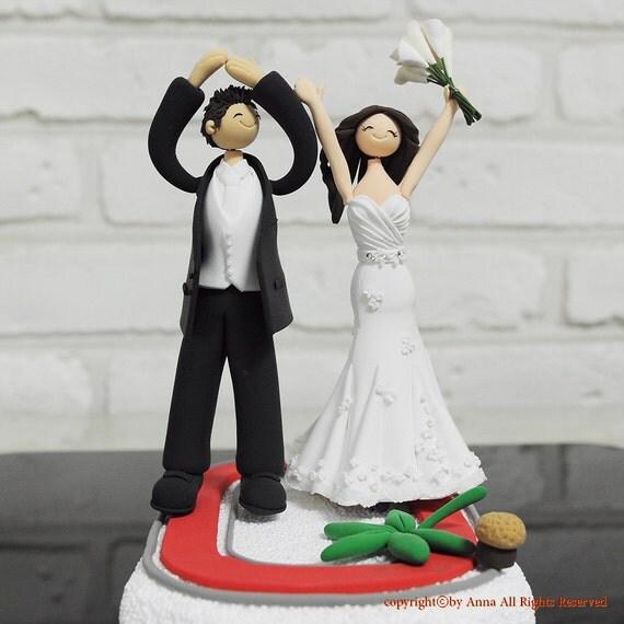 Ohio State Unv. alumni couple custom wedding cake topper decoration