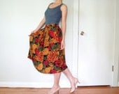 vintage women black red orange olive green yellow roses floral printed high waisted pleated full long skirt (small, size 2 4 6)