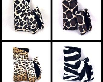 Sunglass Case Tissue Holder Set Glasses Holder Pocket Tissue Cover Faux Fur Animal Print Cheetah Giraffe Leopard Zebra Made to Order