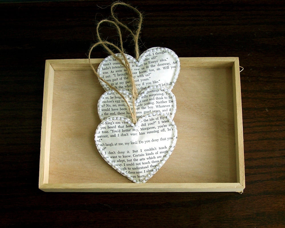 Vintage book paper heart ornaments set of 3 vintage wedding for Antique books for decoration