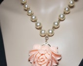 Gold Pearl necklace // Coral // Rose // Cabochon necklace // Super feminine // Bridal jewelry // Victorian inspired //