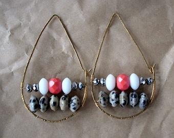 Boho Teardrop Hoop Earrings with Dalmation Jasper