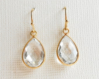 Clear Rock Crystal Quartz Gold Earrings, Bezel Teardrop Setting, Natural Gemstone, Bride Wedding Bridesmaid Matching Gift Set, Framed Stone