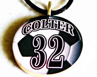 Soccer Ball Necklace, Personalized with name and number, Sports Pendant, Team Gifts