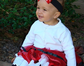 Baby Bow Headband, Red Polka Dot Head Band, Infant Girls Dress Up, Minnie Mouse Bows, Halloween Pageant, Disney Birthday Costume Headbands
