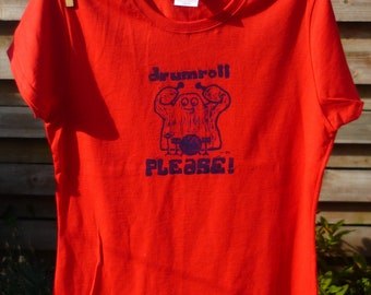 Drumroll Please T-shirt: hand-printed red cotton