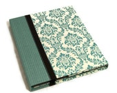 Personalized iPad 3 Cover, iPad 2, iPad Case - Book Style Hard  Cover Converts To iPad Stand- Aqua Damask - Magnet Close, Personalized