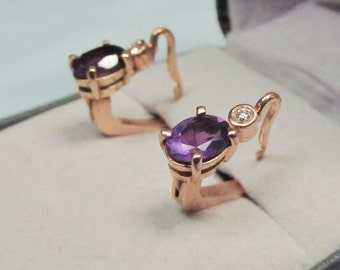 Purple Haze Pink Gold and Amethyst Earrings With Diamonds