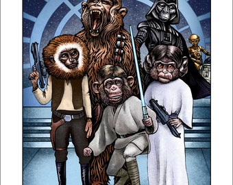 Monkey Wars-  11 x14 signed print