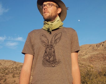 Brush Rabbit triblend tshirt - eco friendly brown ink screenprint on slim fit coffee crew neck - mens sizes XS, S, M, L, XL