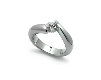 White Sapphire Tension Set Ring in Two Tone Stainless Steel