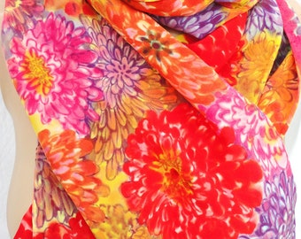 silk scarf large long Multi-Colored Zinnia luxury crepe multicolor floral hand painted unique wearable art women fashion