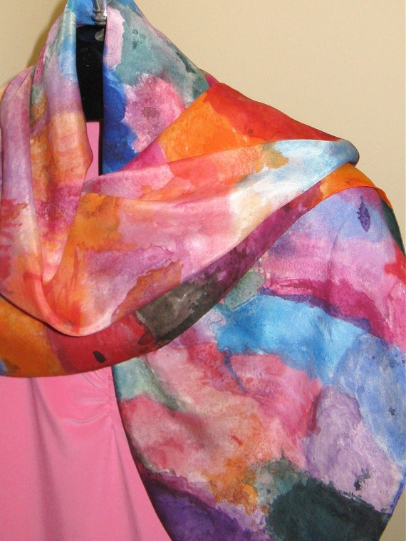 Silk scarf hand painted floral pink purple orange blue shawl 36x36 inches design