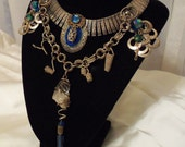 Crystal n silver necklace, Vintage Steampunk choker, Tribal Wedding Jewelry with brilliant blue crystals RESERVED for Anna