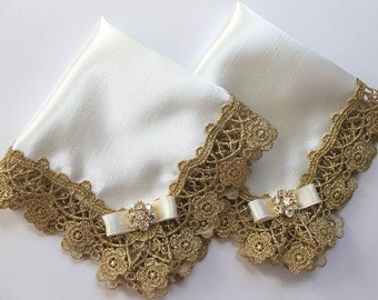 Mother of the Bride and Groom Gifts, Gold wedding handkerchief, Rehearsal Dinner Favors, Lace Handkerchiefs, Personalized Handkerchief