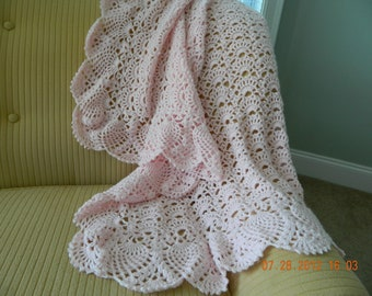 Baby Pink hand crochet soft baby blanket, Baby Tuckers fan design, Crib size, Baby Nursery, Christening, Baby Shower gift, Free USA shipping