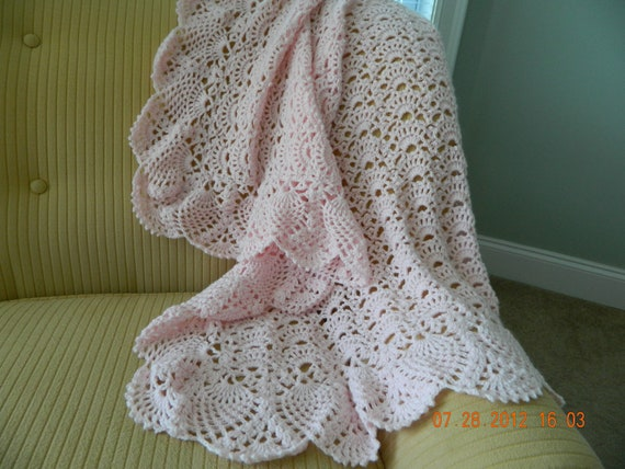 Light pink crocheted baby blanket, fan design with intricate pineapple edging, very soft, quality Paton Beehive Baby yarn, READY to SHIP