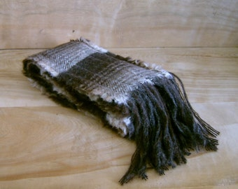 SALE - Alpaca Wool Scarf - Brown Rustic Earth Tone Stripes