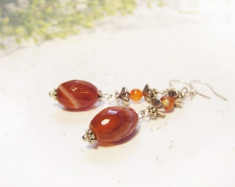 Faceted Agate Earrings Brown Peach Striped Terra Cotta Burnt Orange Gemstone Long Dangle Earrings