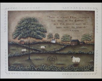 Pastoral Landscape Painting on Canvas. Sheep, Saltbox, Music In The Garden Quotation, Neutral. Original Donna Atkins Prim Folk Art Painting