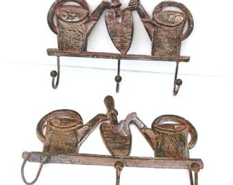 Vintage Industrial Iron Wall Rack with Hooks / Cast Iron Wall Hanging / Metal Coat Rack Garden Theme Decor - As Is