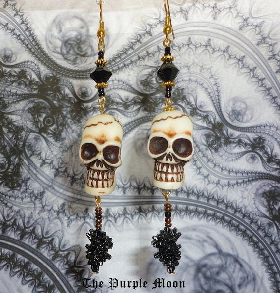 YORICK - Gothic Ox-Bone Skull Dangle Earrings by The Purple Moon Jewlery - Goth